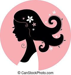 dziewczyna, sylwetka, kwiatowy, koło, różowy, romans