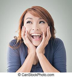 dziewczyna, szczęśliwy, asian, podniecony