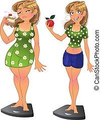 dziewczyna, szczupły, tłuszcz, po, przed