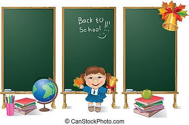 dziewczyna, szkoła, deska, pionowe chorągwie