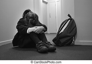 dziewczyna, szkoła, smutny, młody