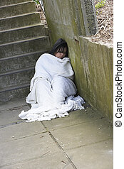 dziewczyna, szorstki, bezdomny, spanie
