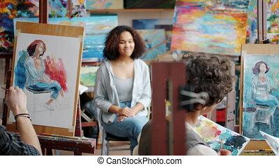 dziewczyna, sztuka, portret, samiec, wzór, malarstwo, ...