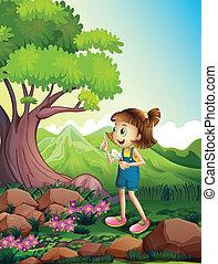 dziewczyna, szufelka, las, dzierżawa