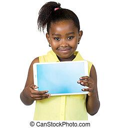 dziewczyna, tabliczka, screen., sprytny, pokaz, afrykanin, czysty