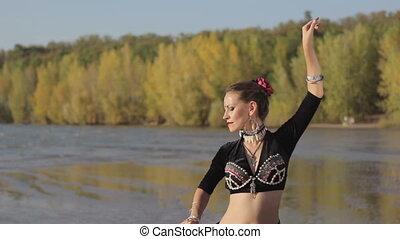 dziewczyna, taniec, egzotyczny, taniec, natura, piękny