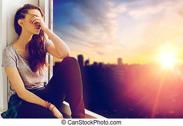 dziewczyna, teenage, nieszczęśliwy, podokiennik, posiedzenie