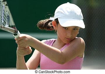 dziewczyna, tenis, interpretacja