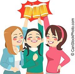 dziewczyna, toasting, przyjaciele