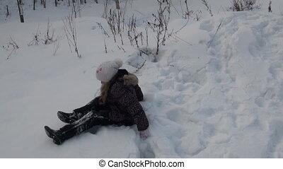 dziewczyna, tokarski, śnieg
