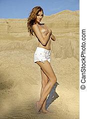 dziewczyna, topless