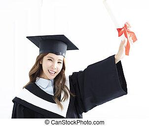 dziewczyna uśmiechnięta, dyplom, skala, asian