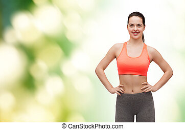 dziewczyna uśmiechnięta, teenage, ubranie sportowe