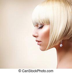 dziewczyna, włosy, hair., zdrowy, blond, krótki, piękny