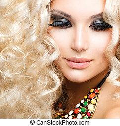 dziewczyna, włosy, kędzierzawy, blond, piękny