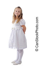 dziewczyna, w, biały strój, odizolowany