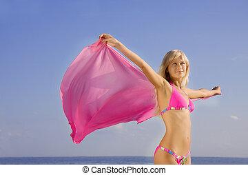 dziewczyna, w goździku, kostium kąpielowy, na plaży