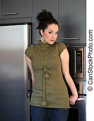 dziewczyna, w kuchni