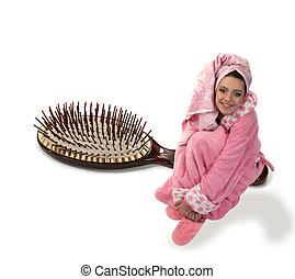 dziewczyna, w, niejaki, różowy, szlafrok, siada, na, niejaki, szczotka do włosów