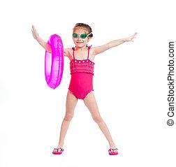 dziewczyna, w, pływacki dostosowują
