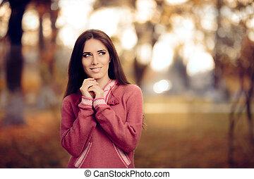 dziewczyna, w, peruwiański, alpaka, sweter