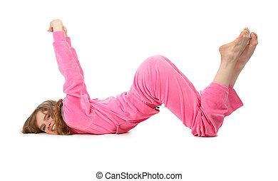dziewczyna, w, różowy, odzież, wyobrażenia, litera, w