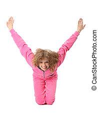 dziewczyna, w, różowy, odzież, wyobrażenia, litera y