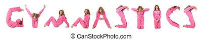 dziewczyna, w, różowy, odzież, zrobienie, słowo, gimnastyka, collage