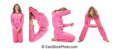 dziewczyna, w, różowy, odzież, zrobienie, słowo, idea, collage