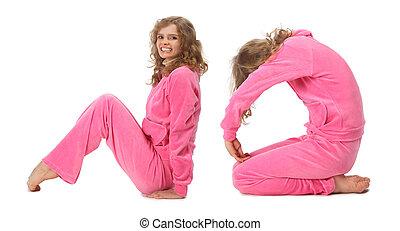 dziewczyna, w, różowy, odzież, zrobienie, słowo, nie, collage