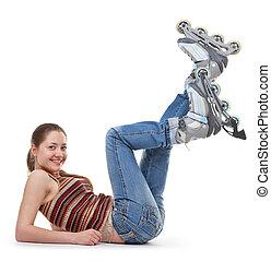 dziewczyna, wałek, lekkoatletyka, łyżwy