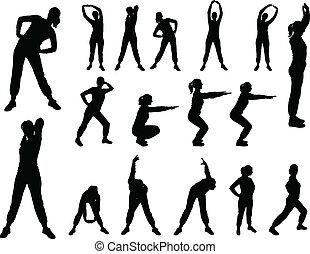 dziewczyna, wektor, -, 4, aerobics
