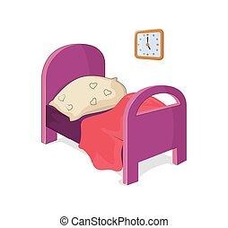 dziewczyna, wektor, meble, ilustracja, sypialnia