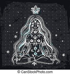 dziewczyna, wektor, medytacja