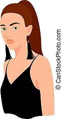 dziewczyna, wektor, tło., biały, czarnoskóry, ilustracja
