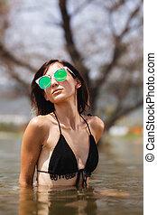 dziewczyna, woda, okulary, sexy