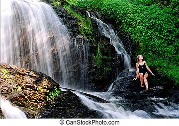 dziewczyna, wodospady