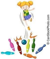 dziewczyna, wyrzucanie, bowling piłka, na, przedimek określony przed rzeczownikami, szpilki