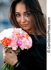 dziewczyna, wzór, fason, kwiaty, piękno