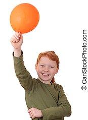 dziewczyna, z, balloon