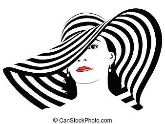 dziewczyna, z, ciemny włos, w, cielna, pasiasty, kapelusz, -, wektor