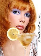 dziewczyna, z, cocktail