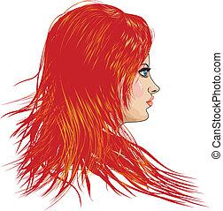 dziewczyna, z, czerwony włos