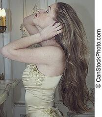 dziewczyna, z, długi, fałdzisty włos