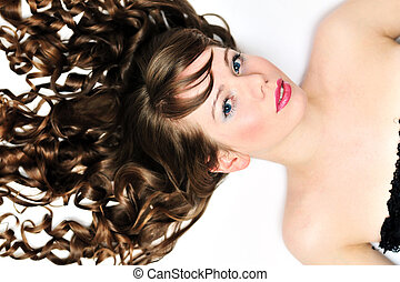 dziewczyna, z, długi, kędzierzawy włos