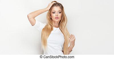 dziewczyna, z, długi, zdrowy, hair.