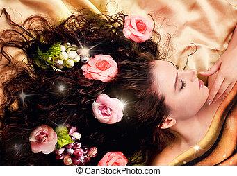 dziewczyna, z, długi, zdrowy, włosy, ozdobny, z, flowers.