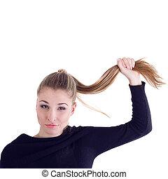 dziewczyna, z, długi, zdrowy, włosy