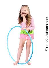dziewczyna, z, hula obręcz, isolated.