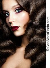 dziewczyna, z, kędzierzawy, hair., fason, portret